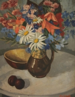 Still life with flowers in a brown jug by Botha, David