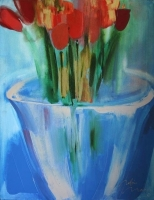 Still life with tulips by Mann, Robin
