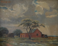 A small farmstead near a tree by Pierneef, Jacob Hendrik