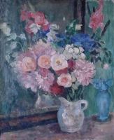 Still life with flowers in a white jug by Sumner, Maud Frances Eyston