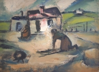 A woman outside a hut by Domsaitis, Pranas