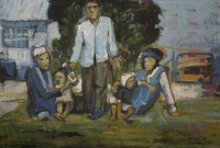 Man & 2 woman with kids sitting on grass by Ngatane, Ephraim Majalifa