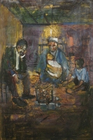 Man, woman, baby & child seated around pot by Ngatane, Ephraim Majalifa