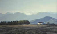 Farmhouse with mountains in background by Bonney, Peter