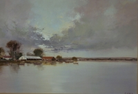 River house with boats by Brigg, Mel