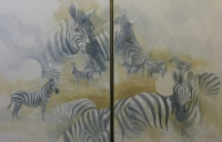 2 Paintings of zebra by Hanley, Rupert