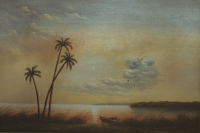 Palm trees and boat at sunset by Longman
