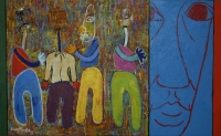 Four men and face by Mzimba, Velaphi