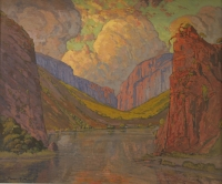 Rock canyon by Pierneef, Jacob Hendrik