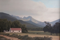 Farmhouse with mountains in background by Vermeulen, Daan