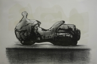 Stone reclining figure by Moore, Henry