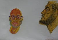 2 mens faces (self portrait), 1 with beard & othere with glasses & sideburns by Botes, Conrad