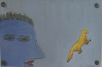 Blue face & yellow animal by Hyslop, Diana