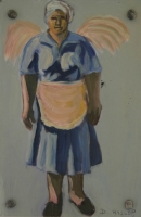 Black lady in blue uniform with wings behind her by Hyslop, Diana