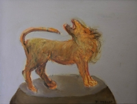 Orange animal on brown base by Hyslop, Diana
