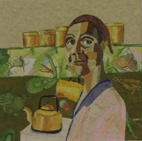 Lady next to kettle with veg in background by Thysen, Tyrrel