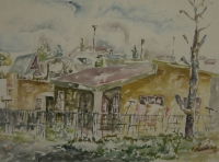 Houses with tree on left by Buthelezi, Mbongeni Richman