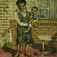 Lady holding child outside house by Fulani, Ernest