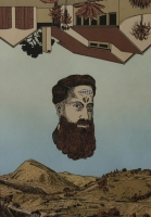 upside down house at top, mans face in middle & landscape & mountains at bottom by Kannemeyer, Anton