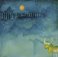 Yellow horned animal with orange moon in background by Phala, Madi