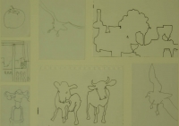 7 sketches - birds - bulls - tap - fruit - wine & glass by Relly, Tamsin