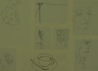 8 sketches - tea cup & spoon - faces - hand - hat stand - powerline by Relly, Tamsin