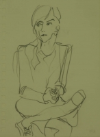 Lady sitting with crossed legs by Relly, Tamsin