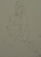 Sketck of naked sitting woman by Relly, Tamsin