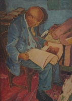 Seated man reading a book by Vanyaza, Mandla