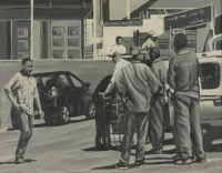 Black & white  - workers standing near car by Van Bosch, Cobus