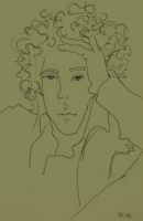 Curly haired man with hand on head by Relly, Tamsin