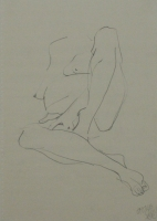 Sketch of woman sitting without head by Relly, Tamsin