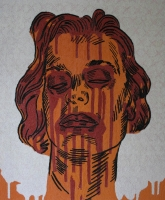 Female face done in orange - red & black on white background by Unknown
