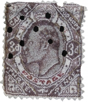 South African stamp - face with holes in stamp by Blake, Tamlin