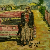 Old lady standing in front of pink car by Fulani, Ernest