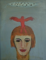 Lady with red angel on her head by Hyslop, Diana