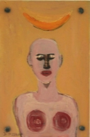 Bald man with orange shape above his head by Hyslop, Diana