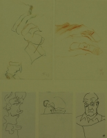 5 sketches - hand holding cigarette - faces by Relly, Tamsin