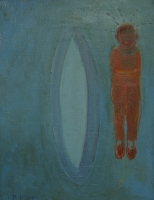 Red man standing next to blue surfboard by Hyslop, Diana