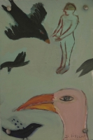 Pink bird with black birds & person in background by Hyslop, Diana