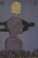 Blue man with yellow flower above head with black figure in background by Hyslop, Diana